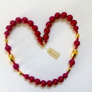 """Vintage Lisner Lucite Bead Necklace 24"""" Cherry Red"""